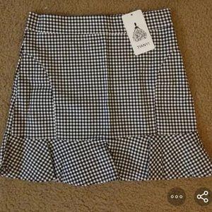 Black Checkered Skirt NWOT